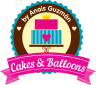 logo cakes and balloons